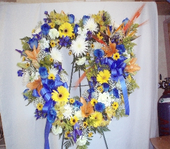 Blue, Yellow, Orange and White Open Heart in Rocky Point NY, Flowers on Broadway