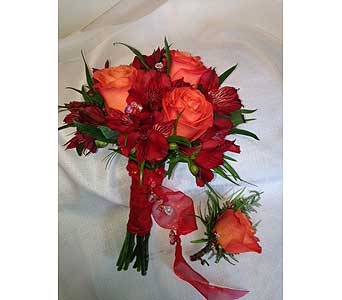 Handheld Bouquet and Boutonni�re in Crafton PA, Sisters Floral Designs