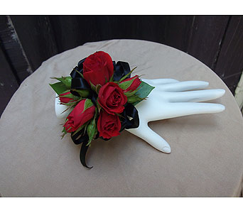 Red Rose & Black Satin Corsage$40 in West Los Angeles CA, Westwood Flower Garden