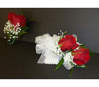 Double Rose Corsage with Matching Boutonniere in Weymouth MA, Hartstone Flower, Inc.