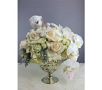 White Romance in Santa Clarita CA, Celebrate Flowers and Invitations