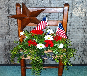 ChairBack_Patriotic in Oakland City IN, Sue's Flowers & Gifts