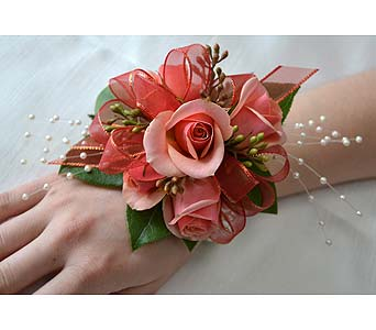 Pretty in Peach Corsage in Dearborn Heights MI, English Gardens Florist