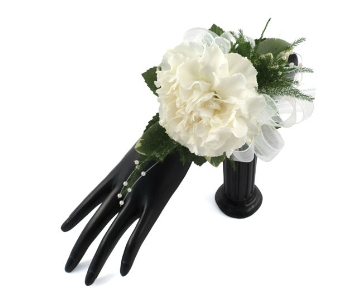 Single Carnation Wrist Corsage in Southfield MI, Thrifty Florist