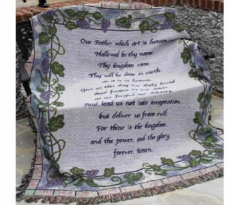 The Lord's Prayer / Grapevine Afghan in Troy OH, Trojan Florist & Gifts