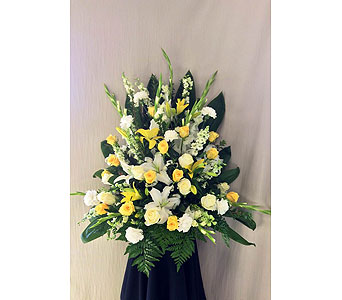 Yellow and white sympathy arrangement  in Carmichael CA, Bettay's Flowers