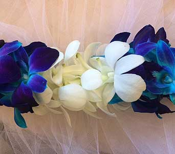 Blue, White - Double Lei in Sunnyvale CA, Flowers By Sophia