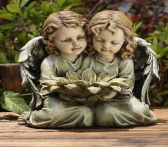 Twin Angels with Flower in Martinsville IN, Flowers By Dewey
