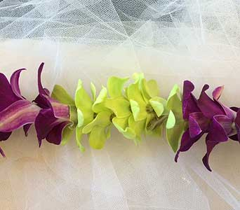 Green, Purple - Single Lei in Sunnyvale CA, Flowers By Sophia