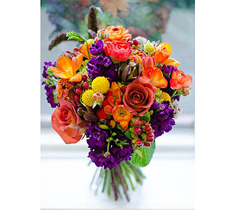 Bright Orange & Purple Bouquet in Las Vegas NV, Flowers By Michelle