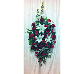 Red Standing Spray in Timmins ON, Timmins Flower Shop Inc.