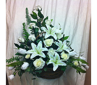 Silk All White Peaceful Basket in Timmins ON, Timmins Flower Shop Inc.
