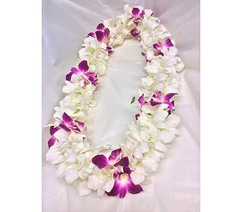Double White Orchids Lei with Purple spacers in Kihei HI, Kihei-Wailea Flowers By Cora