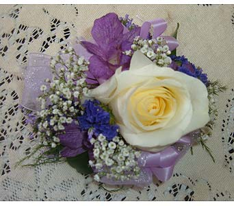 Rose Corsage with Delphinium in Weymouth MA, Hartstone Flower, Inc.