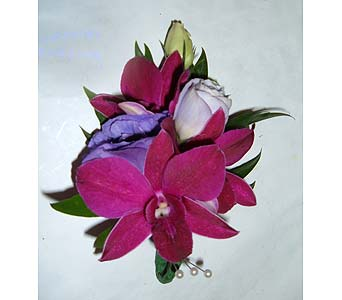 Dendrobium Orchid Corsage with Lisianthus in Weymouth MA, Hartstone Flower, Inc.