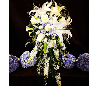 Blue & White Bridal Bouquet with Bridemaids in Wake Forest NC, Wake Forest Florist