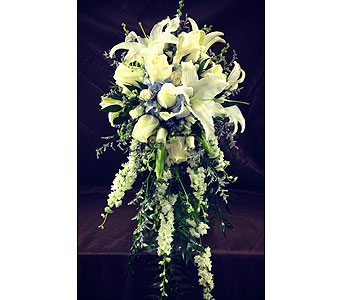 Blue and White Cascading Bridal Bouquet in Wake Forest NC, Wake Forest Florist