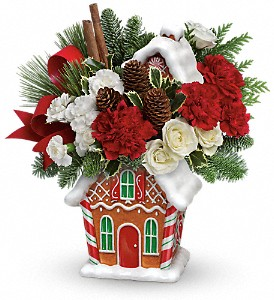Teleflora's Gingerbread Cookie Jar Bouquet in Fort Lauderdale FL, Brigitte's Flowers Galore