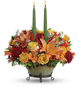 Teleflora's Golden Fall Centerpiece in Springfield IL, Fifth Street Flower Shop