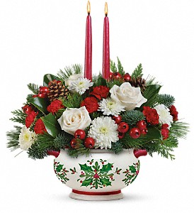 Teleflora's Holly Days Centerpiece in Maumee OH, Emery's Flowers & Co.