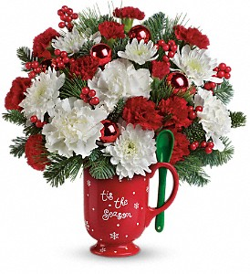 Teleflora's Merry Mug Bouquet in Houston TX, Fancy Flowers
