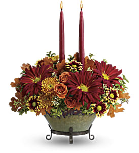 Teleflora's Tuscan Autumn Centerpiece in Skowhegan ME, Boynton's Greenhouses, Inc.