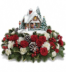 Thomas Kinkade's A Kiss For Santa by Teleflora in Fort Lauderdale FL, Brigitte's Flowers Galore