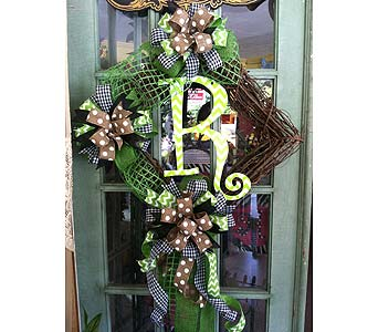 Diamond Grapevine with Lime Chevron Initial in Creedmoor NC, Gil-Man Florist Inc.