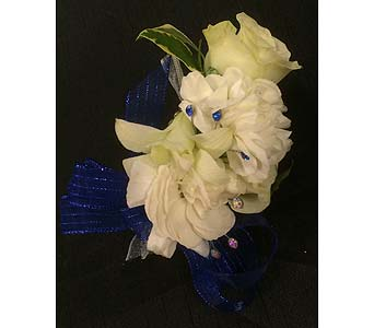 Mixed White Wrist Corsage in Belleville ON, Live, Love and Laugh Flowers, Antiques and Gifts