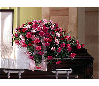 Pink Remembrance Casket Spray in Moline IL, K'nees Florists