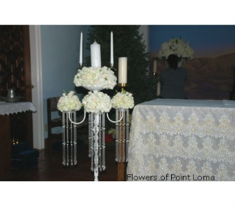 Unity Candle stand in San Diego CA, Flowers Of Point Loma
