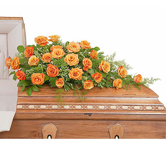 Orange Rose Casket Spray in Weymouth MA, Bra Wey Florist
