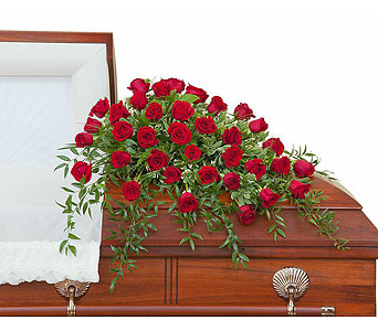 Simply Roses Deluxe Casket Spray in Sault Ste Marie MI, CO-ED Flowers & Gifts Inc.