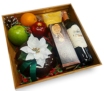 Wine & Gingerbread Fresh Gourmet Basket in Fort Worth TX, TCU Florist