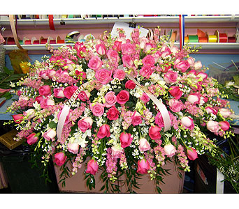 Peaceful in Pink Casket Spray in Port Chester NY, Port Chester Florist
