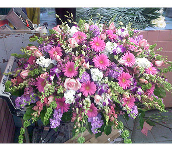 Soft-Hued Casket Spray in Port Chester NY, Port Chester Florist