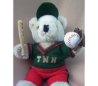 Baseball Player Bear in The Woodland TX, The Woodlands Flowers Too