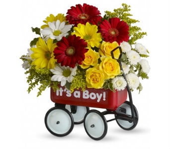 Baby''s First Red Wagon bouquet - Baby Boy in Santa Monica CA, Edelweiss Flower Boutique