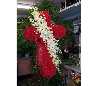Predominantly Red Standing Cross in Port Chester NY, Port Chester Florist