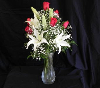 6 Red Roses and White Lilies Arrangement in Mililani Town HI, Mililani Town Florist