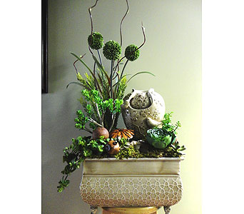 Zen Bird Fountain with Faux  Plants in Tampa FL, Buds, Blooms & Beyond