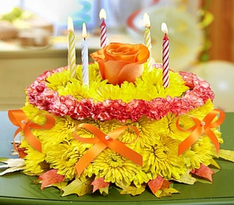 Birthday Flower Cake� for Fall in Round Rock TX, Heart & Home Flowers