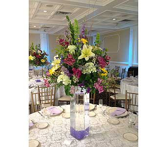 Tall Wedding Cylinder in Manhasset NY, Town & Country Flowers