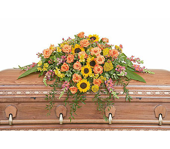 Heaven's Sunset Casket Spray in Fort Worth TX, TCU Florist