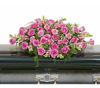 Peaceful Pink Casket Spray in Bloomington IL, Forget Me Not Flowers