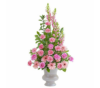 Peaceful Pink Large Urn in Oshkosh WI, Flowers & Leaves LLC