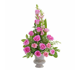 Peaceful Pink Small Urn in Mount Morris MI, June's Floral Company & Fruit Bouquets