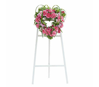 Peaceful Pink Heart Spray in Mount Morris MI, June's Floral Company & Fruit Bouquets