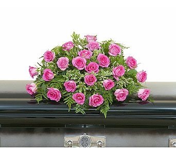 Pink Rose Casket Spray in Bloomington IL, Forget Me Not Flowers