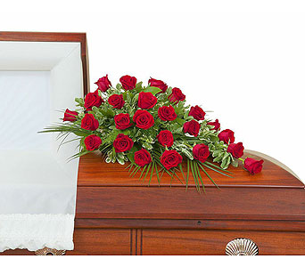 Simply Roses Standard Casket Spray in Mount Morris MI, June's Floral Company & Fruit Bouquets